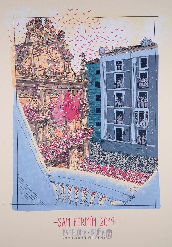 Imagen del cartel de las fiestas de San Fermín 2019